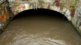 Water van kleine rivierstroom in kleine steenachtige tunnel of brug Bruin modderig water met schaduwen en bezinning Steenachtige  stock video