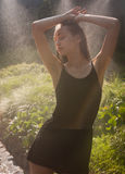 Water vapor fun in summer heat. Royalty Free Stock Image