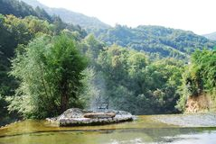Water Vapour Rising From Jajce Waterfall Royalty Free Stock Photography