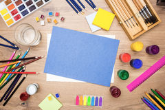 Water and various drawing tools Royalty Free Stock Photography