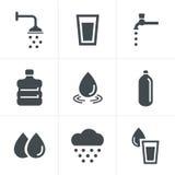 Water verwante geplaatste pictogrammen Royalty-vrije Stock Afbeeldingen