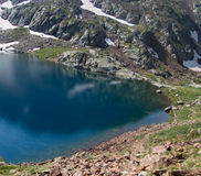The water is very cold in the mountain lake Royalty Free Stock Images