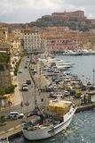Water view of colorful buildings and harbor of Portoferraio, Province of Livorno, on the island of Elba in the Tuscan Archipelago  Stock Image