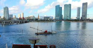 Water view in Miami. Port of Miami, McArthur causeway & downtown Miami buildings Stock Image