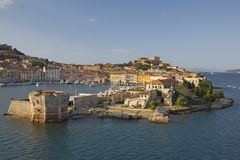 Water view of Portoferraio, Province of Livorno, on the island of Elba in the Tuscan Archipelago of Italy, Europe, where Napoleon  Royalty Free Stock Image