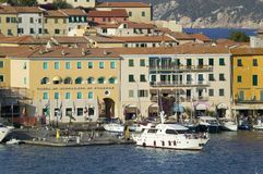 Water view of Torre della Linguell, Portoferraio, Province of Livorno, on the island of Elba in the Tuscan Archipelago of Italy royalty free stock photos