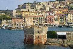 Water view of Torre della Linguell, Portoferraio, Province of Livorno, on the island of Elba in the Tuscan Archipelago of Italy, E Stock Photography