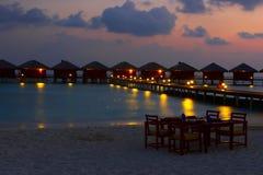 Water vilas in the Ocean. Nice Water  vilas in the Indian Ocean Royalty Free Stock Photography