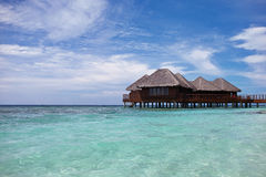 Water Villa. Villa stands on stilts on the water royalty free stock photography