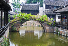 Water village. Arched bridge over water channel in a water village, China Stock Image