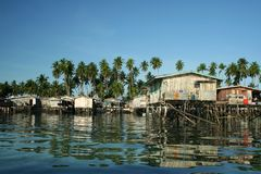 Water village mabul island borneo Stock Photos