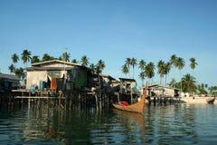 Water village mabul island borneo Royalty Free Stock Image