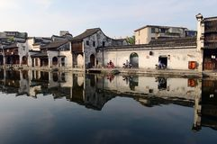 Water Village-Nanxun ancient town. Nanxun, an old town in Zhejiang province of China is renowned for bridges, Lanes and covered corridors stock photo