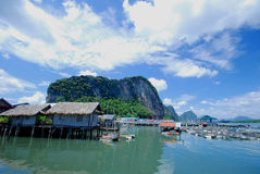 Water village in sea, Thailand Stock Image