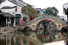 Water Village Xitang. The old town district nine rivers and intertwined, the town is divided into eight blocks, in which 27 Old Bridge town connectivity. Ancient Royalty Free Stock Photos