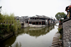 Water Village Xitang. The old town district nine rivers and intertwined, the town is divided into eight blocks, in which 27 Old Bridge town connectivity. Ancient Stock Photo