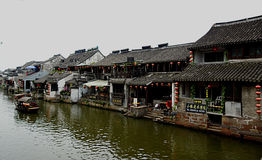 Water Village Xitang. The old town district nine rivers and intertwined, the town is divided into eight blocks, in which 27 Old Bridge town connectivity. Ancient Royalty Free Stock Image