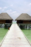 Water villas. Over the tropical sea royalty free stock images