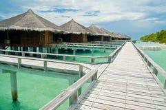 Water villas. In a Maldivian resort Stock Photography