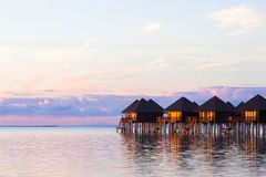 Water villas, bungalows on ideal perfect tropical Stock Photo