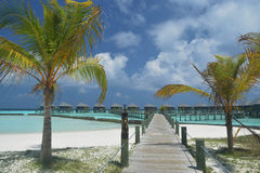 Water villas found in Maldives beach resort Royalty Free Stock Image