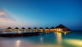 Water villas in hotel resort, Maldives Royalty Free Stock Photos