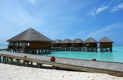 Water villas and jetty Stock Image