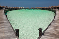 Water villas in the Maldives Royalty Free Stock Image