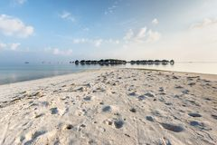 Water villas on Maldives resort island Stock Images