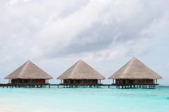 Water Villas in The Ocean Stock Image