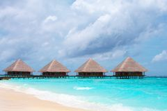 Water Villas in The Ocean Stock Photo