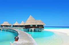 Water villas in the Paradise lagoon Royalty Free Stock Photography