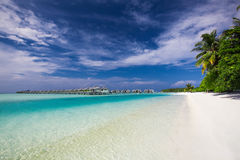 Water Villas on the Perfect Tropical Island in Maldives Royalty Free Stock Photo