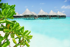 Water villas on tropical island on Maldives Stock Photo