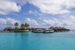 Water villas on the tropical island Stock Image