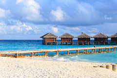 Water villas in tropical resort Royalty Free Stock Photo
