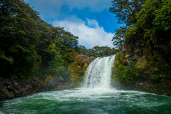 Water from volcano Mt Ruapehu forms Tawhai Falls in Tongariro National Park, New Zealand Royalty Free Stock Images