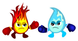 Water vs fire. Humorous cartoon illustration of a fire fighting with water, both of them are wearing boxing gloves Royalty Free Stock Photos