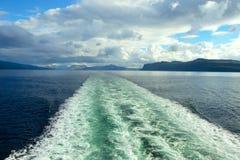 Water wake of cruise liner stock photos