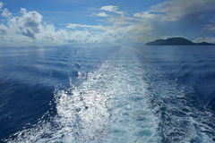 Water wake of ship Stock Image
