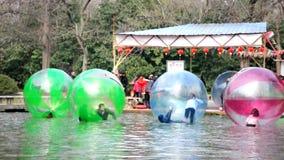 Water walking ball stock video footage