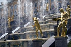 Water wall of fountain jets, Grand cascade baroque ensemble in Peterhof, Russia royalty free stock photography