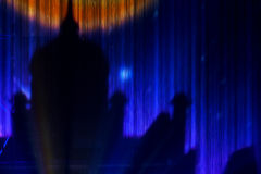 Water wall projection. Image of the palace projected on the water wall Royalty Free Stock Photo