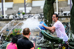 Water war. The big water war at Poseidon Gothenburg's water war in 2015 at the Poseidon with several hundred people The organizers Jimmy Niklasson, Johnny Kä stock image