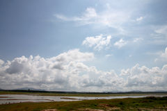 Water was dried and blue sky. Stock Photos
