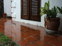 Water washing across a patio in the tropics stock video footage