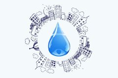 Water. Drop splashing spray transparent liquid symbol stock illustration