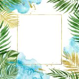 Watercolor floral geometric gold frame with tropical leaves isolated. Watercolor tropical leaves border with golden geometric frame, isolated on white background royalty free illustration