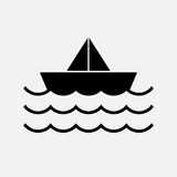 Water wave with boat  symbol  , icon Stock Images
