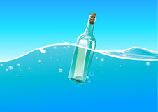 Water wave and bottle Royalty Free Stock Image